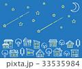 デフォルメした家と木の並び(夜空に三日月と星)手書風線画 33535984