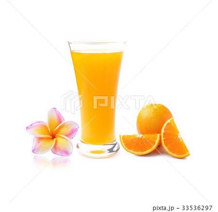 colorful plumeria flower and Orange juice  の写真素材 [33536297] - PIXTA