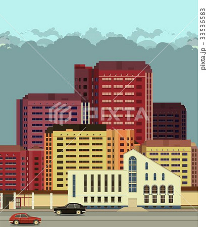 background city streets in flat style 33536583