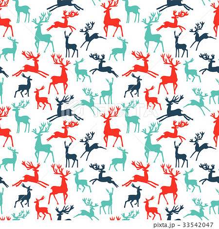 pattern of silhouette deer vector illustration 33542047