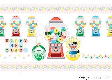 2018年戌年完成年賀状テンプレート「カプセルトイガチャガチャポン!」HAPPY NEW YEAR! 33542698