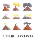 Volcano eruption set, volcanic magma blowing up 33543943