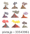 Volcano eruption set, volcanic magma blowing up 33543961