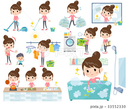 Bun hair mom Pants style_housekeeping 33552330