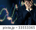 Businessman in despair on candlestick chart graphic 33553365