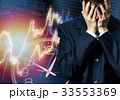 Businessman in despair on candlestick chart graphic 33553369