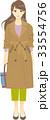 女性 トレンチコート 人物のイラスト 33554756
