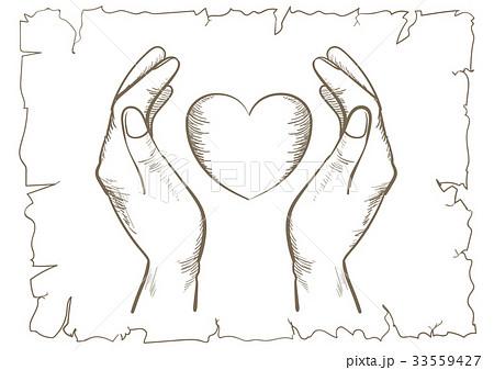 レトロラインアートハートを包む手のイラスト素材 33559427 Pixta
