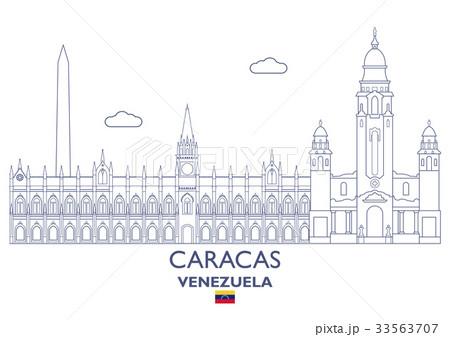 Caracas City Skyline, Venezuelaのイラスト素材 [33563707] - PIXTA