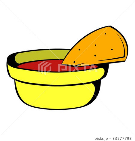 Pepper sauce with pita bread icon cartoonのイラスト素材 [33577798] - PIXTA