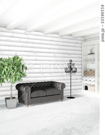 White bedroom minimal style Interior design with 33590559