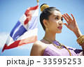 A beautiful Thai woman is looking while covering her face by the hand 33595253