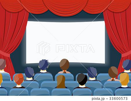 cinema watch movie theater empty screen templateのイラスト素材