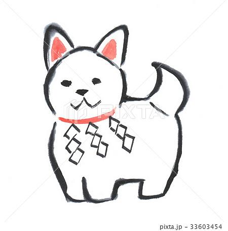 戌 犬 年賀状イラスト 水墨画 0012のイラスト素材