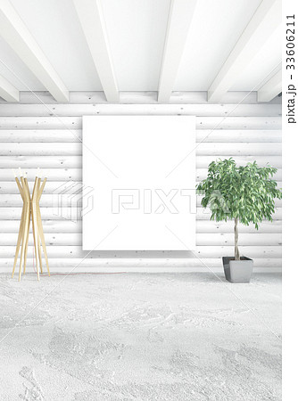 White bedroom minimal Interior design with wood 33606211