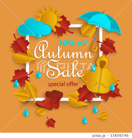 fall sale promotion banner with autumn leavesのイラスト素材
