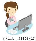 女性 デスク 悩むのイラスト 33608413