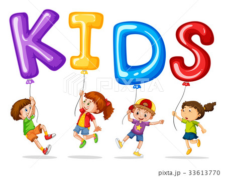 Kids with colorful balloons for word kids 33613770 kids with colorful balloons for word kids voltagebd Image collections