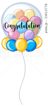 colorful balloons with word congratulationのイラスト素材 33613779