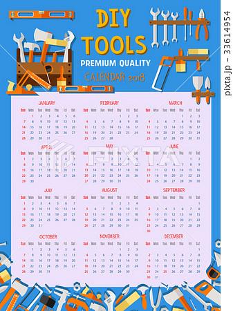Vector calendar 2018 house renovation work tools 33614954