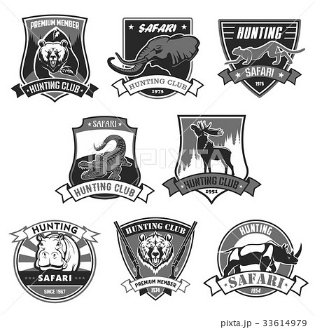 Hunting club safari hunt open season vector icons 33614979