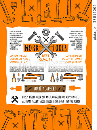 vector poster do it yourself home repair work toolのイラスト素材