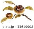 栗-墨絵彩色-枝葉あり 33619908