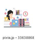 ビジネスウーマン オフィス 忙しいのイラスト 33638868