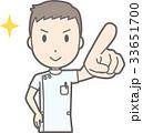 白衣を着た男性看護師が前方を指差しているイラスト 33651700