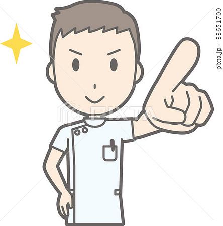 白衣を着た男性看護師が前方を指差しているイラストのイラスト