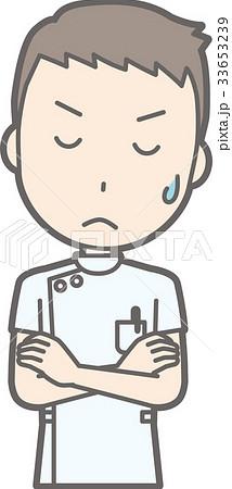 白衣を着た男性看護師が腕を組んで考えているイラストのイラスト素材