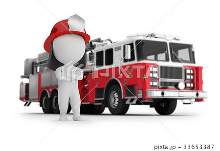 3d small people - fireman and fire truck 33653387