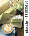 Cappuccino coffee with latte art and cake dessert 33655614