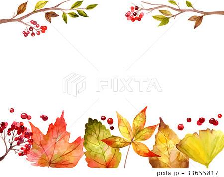 紅葉イラストフレームのイラスト素材 33655817 Pixta
