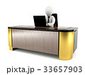 3D man working with laptop on large working desk 33657903