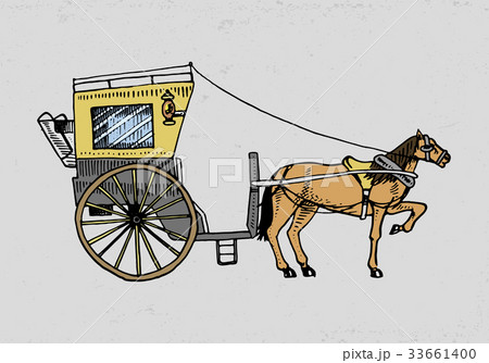 horse drawn carriage or coach travel illustrationのイラスト素材