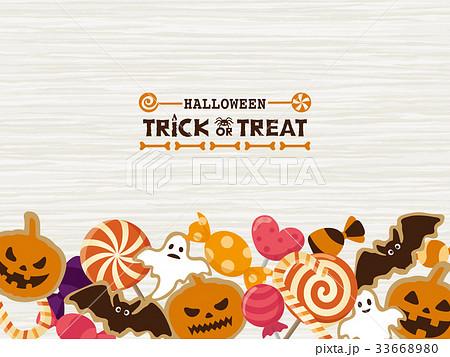 ハロウィン お菓子のフレーム素材 33668980