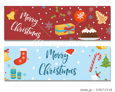 Merry Christmas set of banners, template withのイラスト素材 [33671519] - PIXTA
