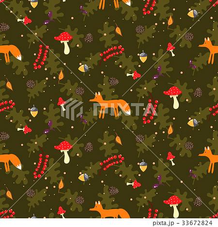Rustic cartoon autumn forest seamless vector 33672824