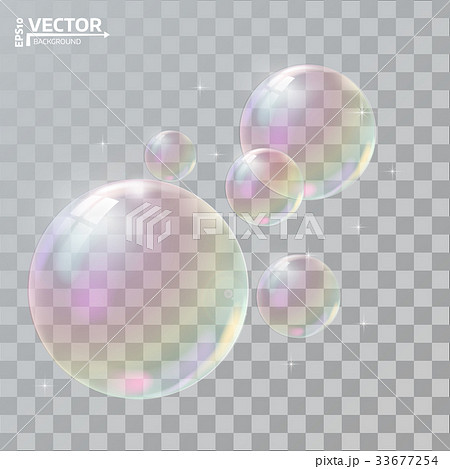 Realistic soap bubbles with rainbow reflection 33677254
