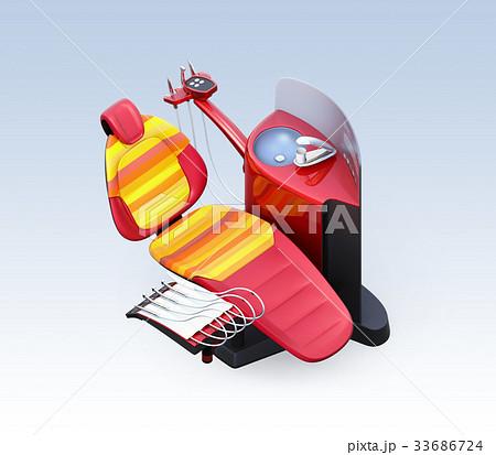 メタリックレッドデンタルユニットのアイソメイメージ。オリジナルデザイン 33686724