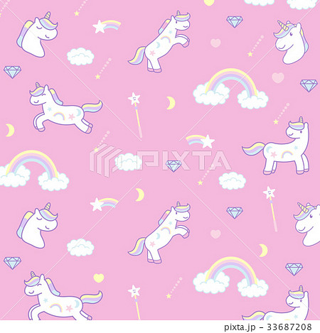 Wrapping paper, Cute cartoon unicornsのイラスト素材 [33687208] - PIXTA