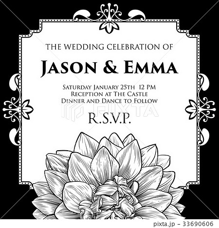 dahlia or chrysanthemum wedding invite templateのイラスト素材