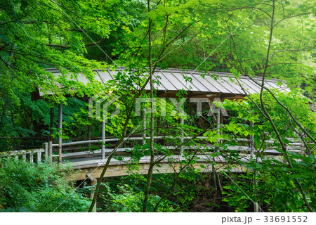 渓流に架かる屋根のある橋。 33691552