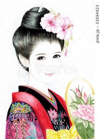 現代美人画着物とハイビスカス2のイラスト素材 33694923 Pixta