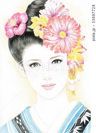 現代美人画着物とハイビスカス3のイラスト素材 33697728 Pixta