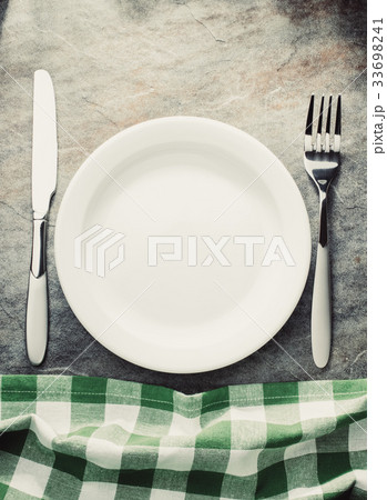 plate, knife and forkの写真素材 [33698241] - PIXTA