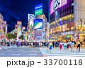 東京 渋谷 スクランブル交差点の夜景 33700118