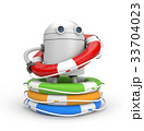 Robot with heap of life buoys. 3d illustration 33704023