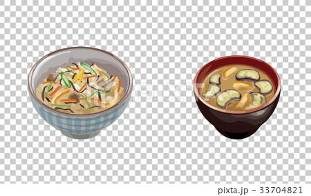 かやくご飯となす味噌汁 33704821